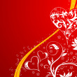 Valentines Day background with hearts and flowers - Imagen vectorial