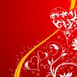 Valentines Day background with hearts and flowers - Stockvectorbeeld