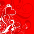 Valentines Day background with hearts and flowers — 图库矢量图片