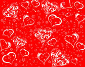 Valentines Day background with hearts and flowers — Stock Vector