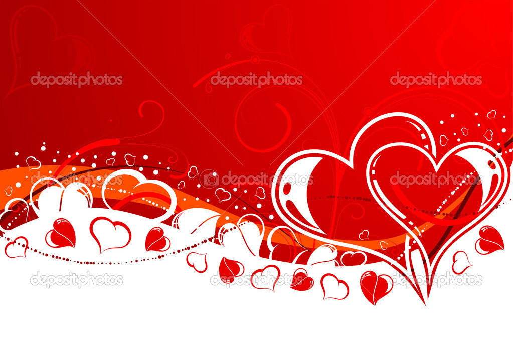 Valentines Day background with Hearts and wave pattern, element for design, vector illustration — Stock Vector #7663037