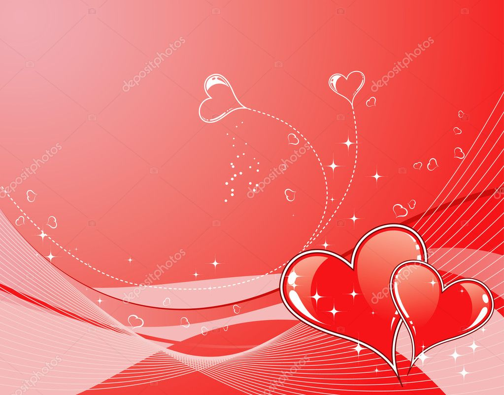Valentines Day background with Hearts and wave pattern, element for design, vector illustration — Stock Vector #7663044
