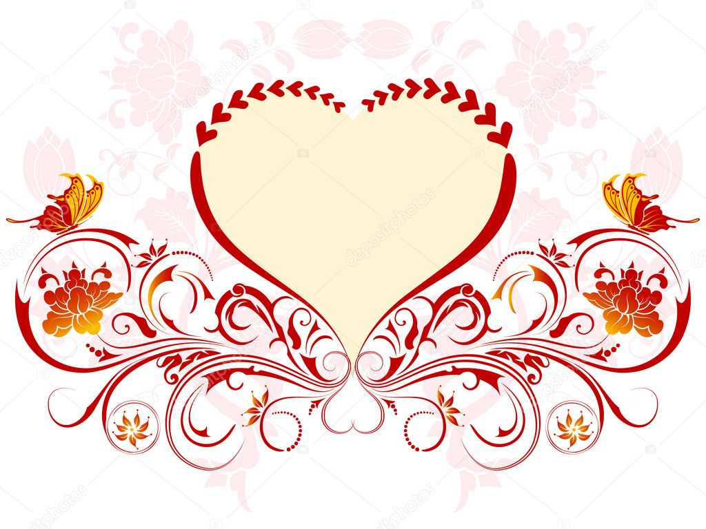 Valentines Day background with Hearts and floral pattern, element for design, vector illustration — Stock Vector #7663056