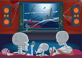 Family of skeletons are watching TV — Stock Vector