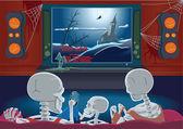Rodzina szkieletów oglądania tv — Wektor stockowy