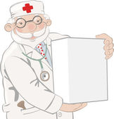 Doctor holds box — Stock Vector