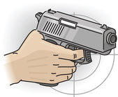 Hand with gun — Stock Vector