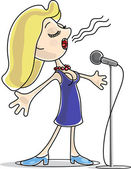 Female singer with microphone — Stock Vector