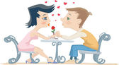 Girl and boy at the table — Stock Vector