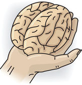 Hand with brain — Stock Vector