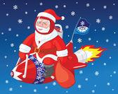 圣诞老人在火箭上的苍蝇 — 图库矢量图片