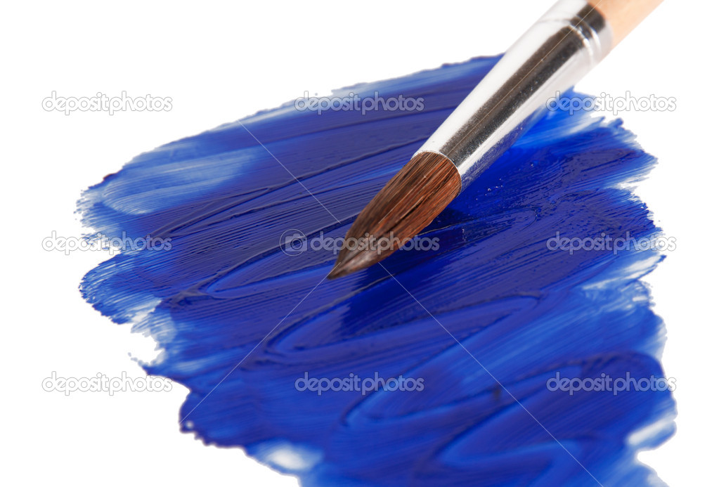 Slick blue paint with a brush. isolated on a white background — Stock Photo #7143023