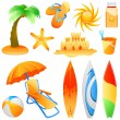 Beach objects — Stock Vector