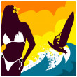 Royalty-Free Stock Vector Image: Surf and girl