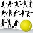 Stock Vector: Tennis player silhouette