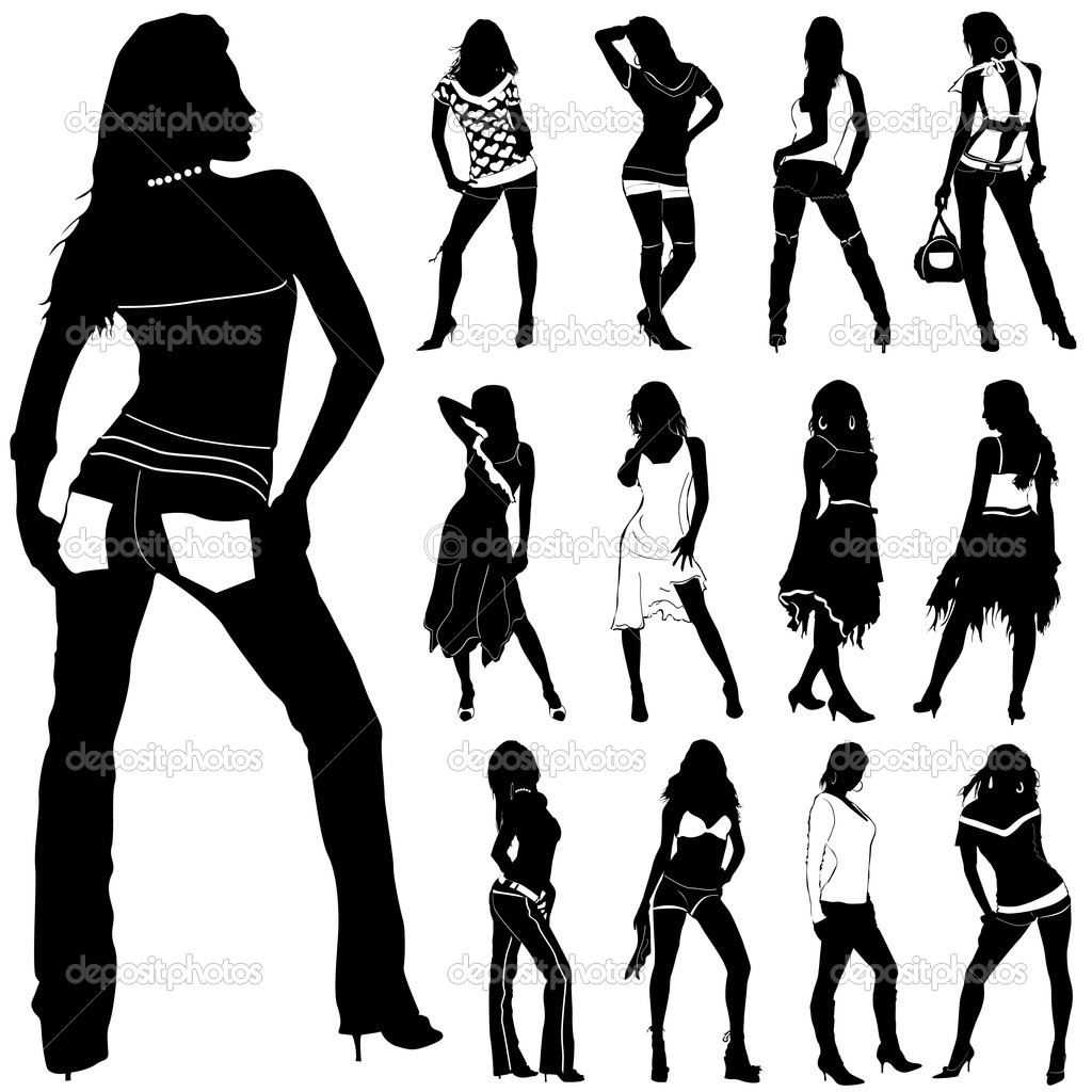 Set of fashion women silhouette  Stock Vector #6766305