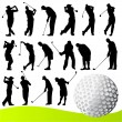 Stock Vector: Set of golf player