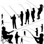 Fishermen silhouette — Stock Vector