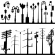 Stock Vector: Power line and lamppost