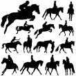 Horses and riders — Stock Vector