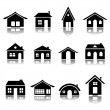 House icon silhouettes — Stock Vector