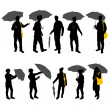 Peoples with umbrella — Stock Vector