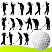 Satz von Golfspieler — Stockvektor