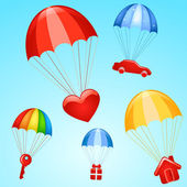 Gifts on parachutes — Stock Vector