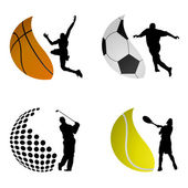 Sport ball logos — Stock Vector