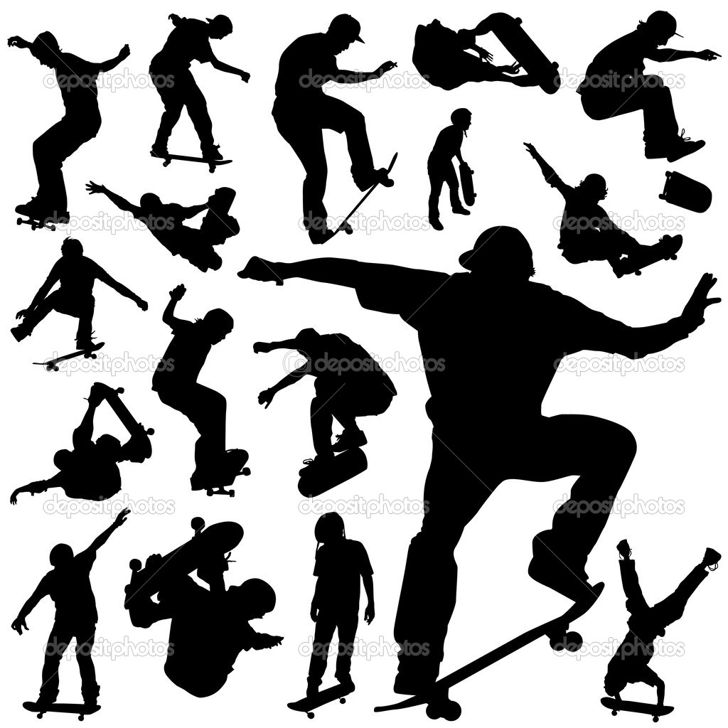 Collection of skateboarding silhouette — Stock Vector #6825612