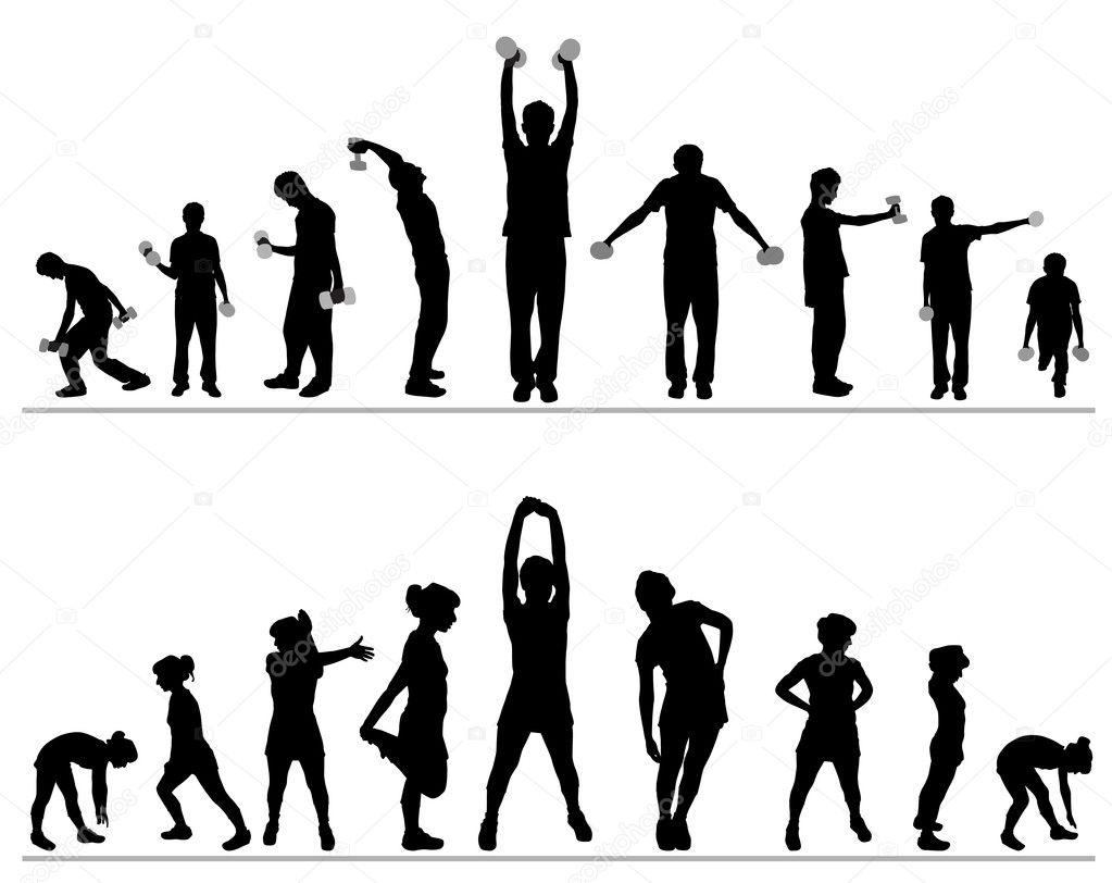 Gym Fitness Silhouette Clip Art