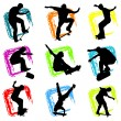 Skateboard silhouette background - Stock Vector