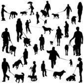 Con i cani — Vettoriale Stock