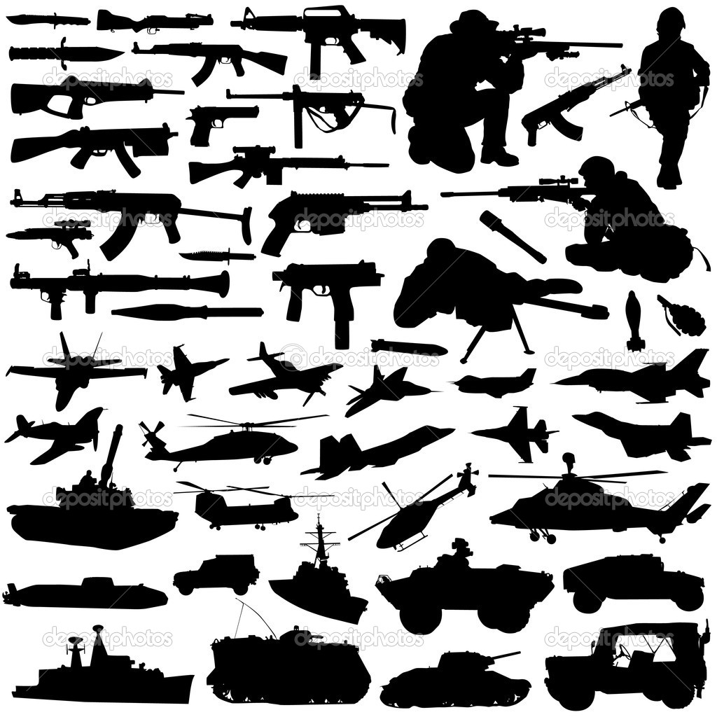 Set of military silhouette design — Stock Vector #6931563