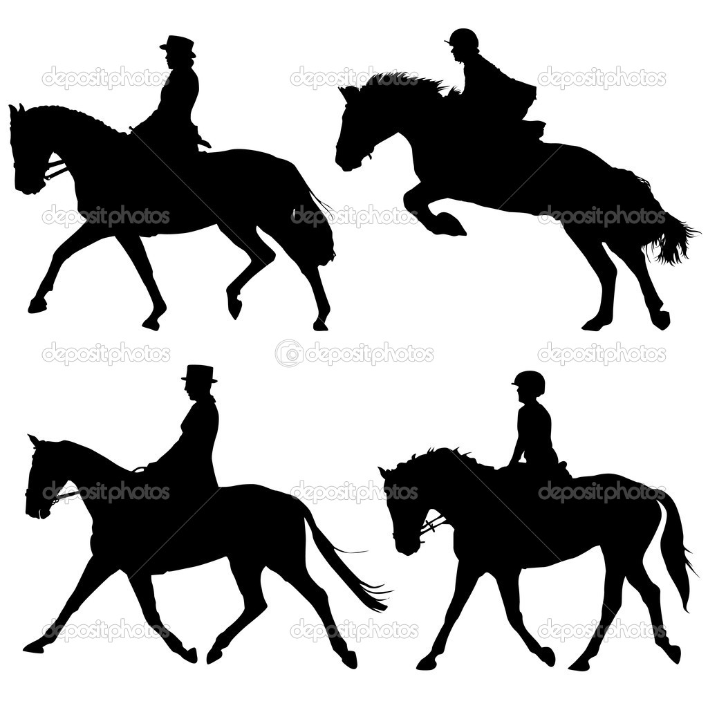 Horse and riders silhouette background — Stock Vector #6931696