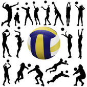 Volleyball player set — Stock Vector