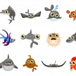 Cartoon fish set — Stockvectorbeeld
