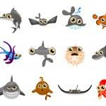 Cartoon fish set — Stock Vector