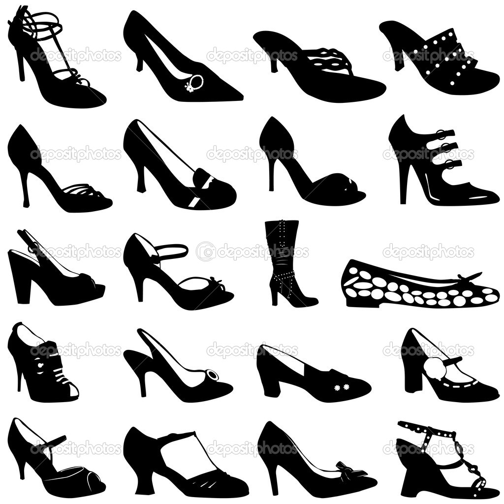 Unique Illustration Of Various Womens Fashion Shoe Styles On A White