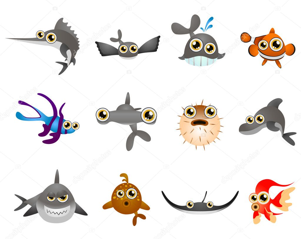 Set of  cartoon fish — Stock vektor #7030684