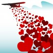 Hearts falling from a plane — Stock Vector