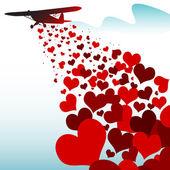 Serca spada z samolotu — Wektor stockowy