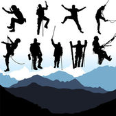 Climbers and mountain — Vector de stock