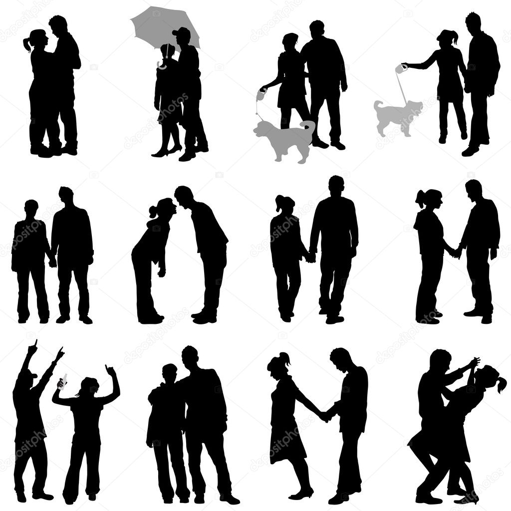 Set of romantic couples  — Stock Vector #7145836