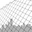 Chain link fence with city - Stock Vector