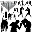 Boxing silhouettes — Stock Vector #7219170