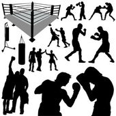 Boxing silhouettes — Stock Vector