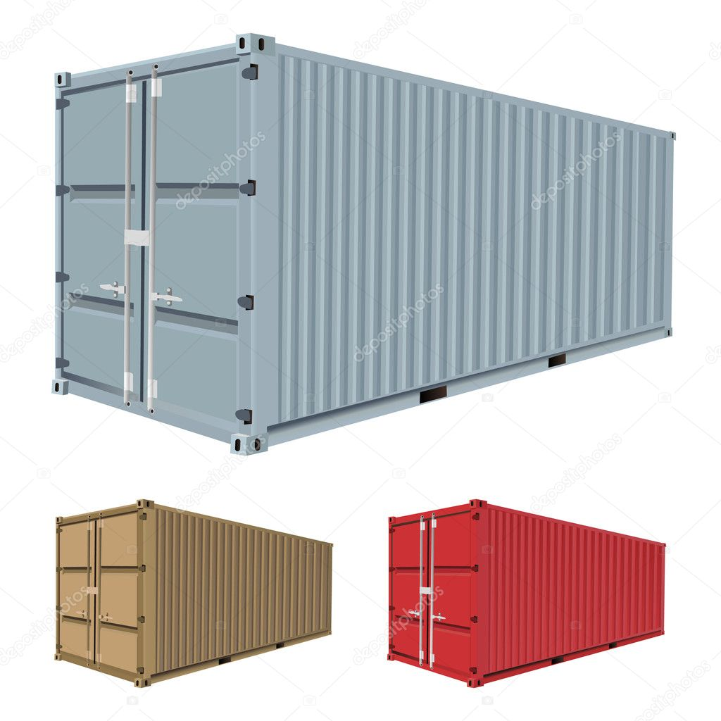 Set of freight container vector — Stock Vector #7219180