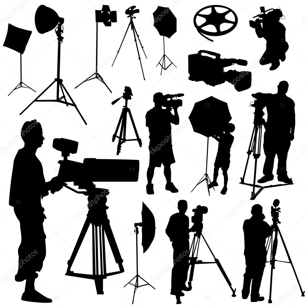 cameraman and film objects � stock vector 169 bogalo 7219237