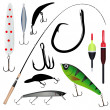 Fishing rod, hook - Stock Vector